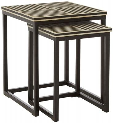 Esher Black Bone Inlay Nest of 2 Table