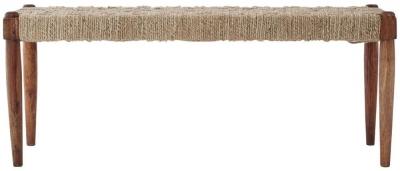 Esher Natural Sheesham and Jute Wood Bench