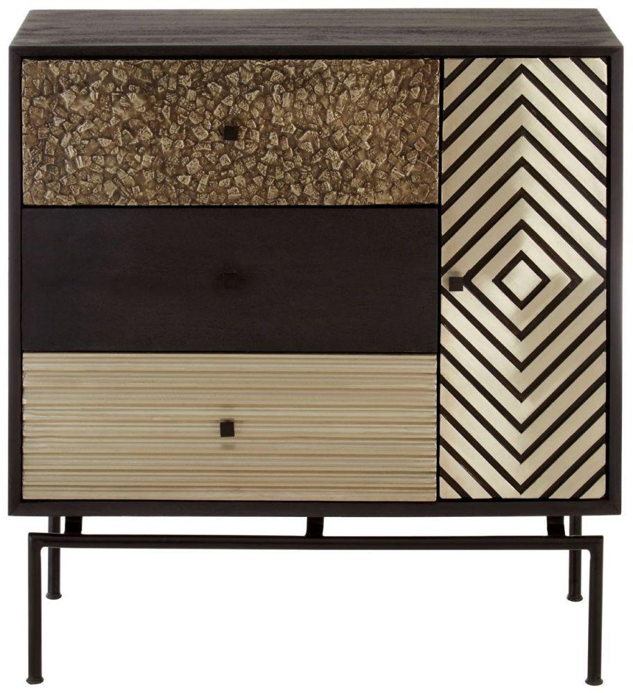 Esher Black Mango Wood 3 Drawer Cabinet