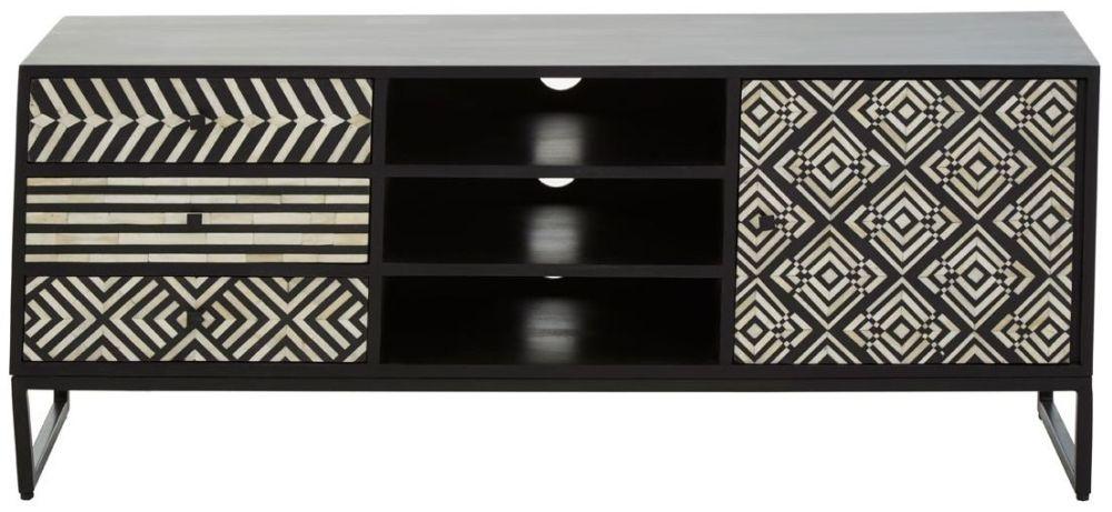 Esher Black Bone Inlay Acacia TV Cabinet