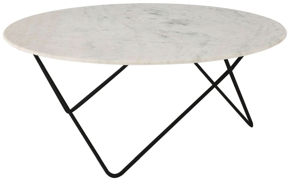 Esher White Marble Top Round Coffee Table