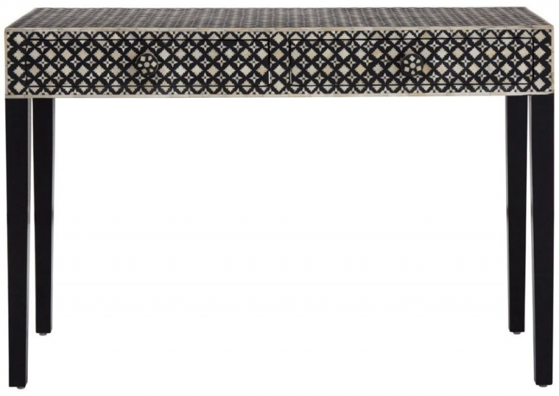 Esher Black and Cream Mother of Pearl Console Table