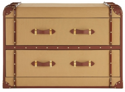 Radlett 2 Drawer Canvas Cabinet with Leather Trim