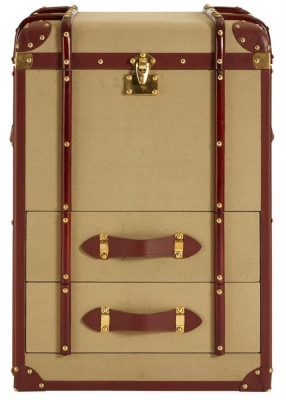 Radlett 2 Drawer Canvas Trunk with Leather Trim