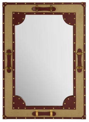 Radlett Canvas Wall Mirror with Leather Trim