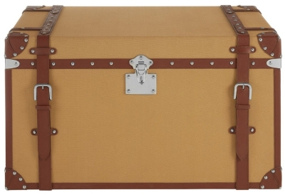 Radlett Large Canvas Storage Trunk with Leather Trim
