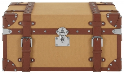Radlett Small Canvas Storage Trunk with Leather Trim