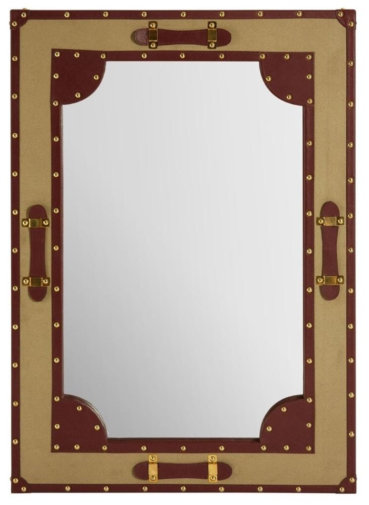 Radlett Canvas Wall Mirror with Leather Trim