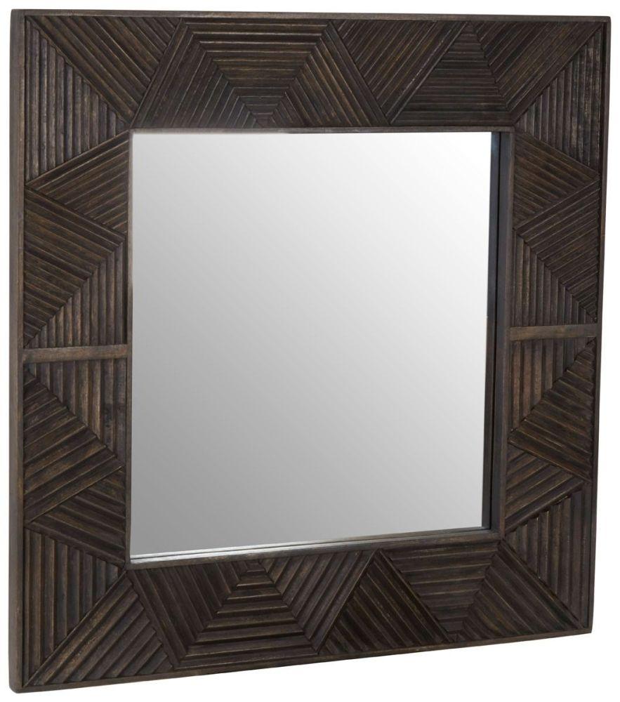 Santa Fe Grey Mango Wood Square Wall Mirror