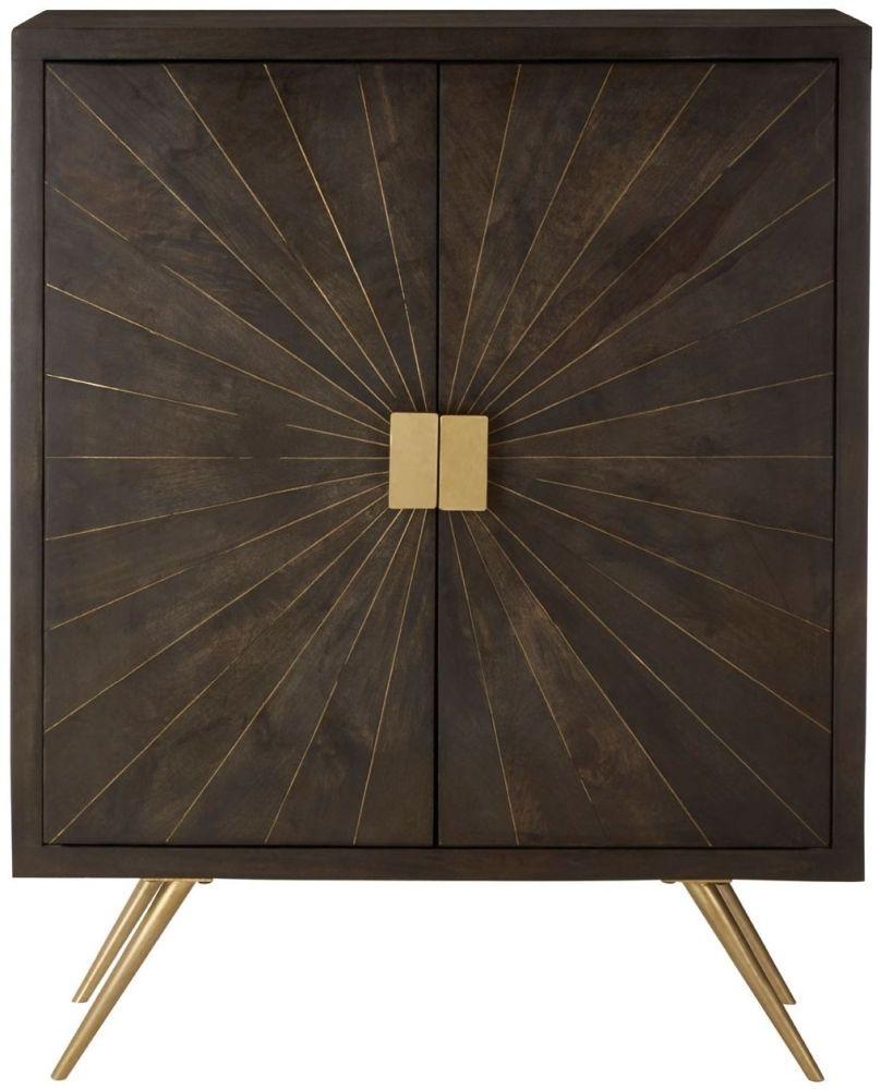 Terrell Grey Mango Wood 2 Door Cabinet
