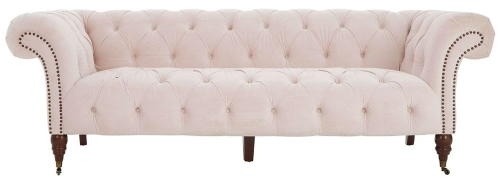 Tuxedo Pink Tufted 3 Seater Chesterfield Sofa