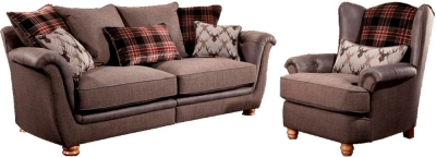 Lebus Camden 2 Seater Fabric Sofa with Wing Chair