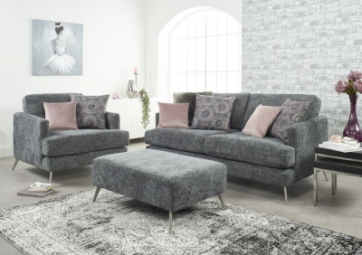 Lebus Venice 2+1 Seater Fabric Sofa with Footstool