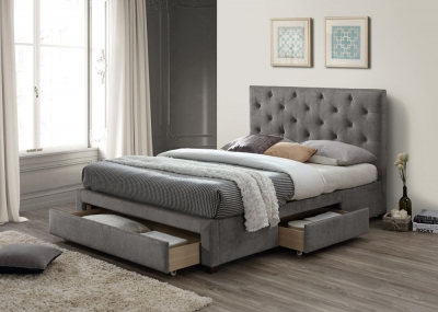 Limelight Monet Grey Velvet 3 Drawer Storage Bed