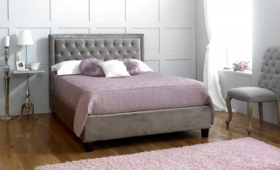 Limelight Rhea Plush Silver Velvet Bed
