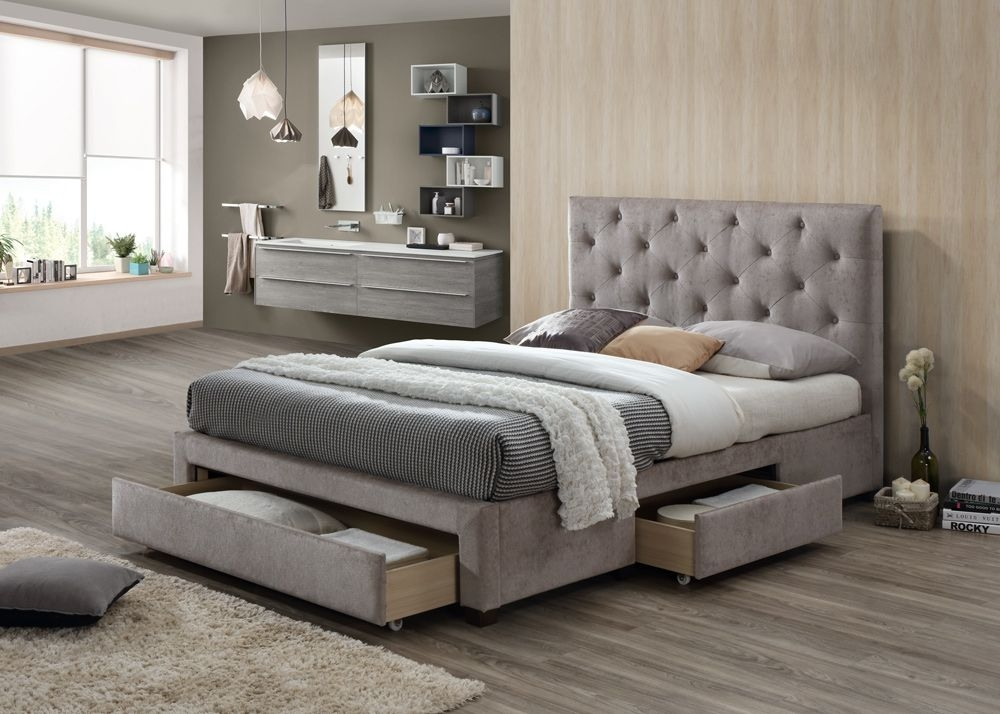 Limelight Monet Mink Velvet 3 Drawer Storage Bed
