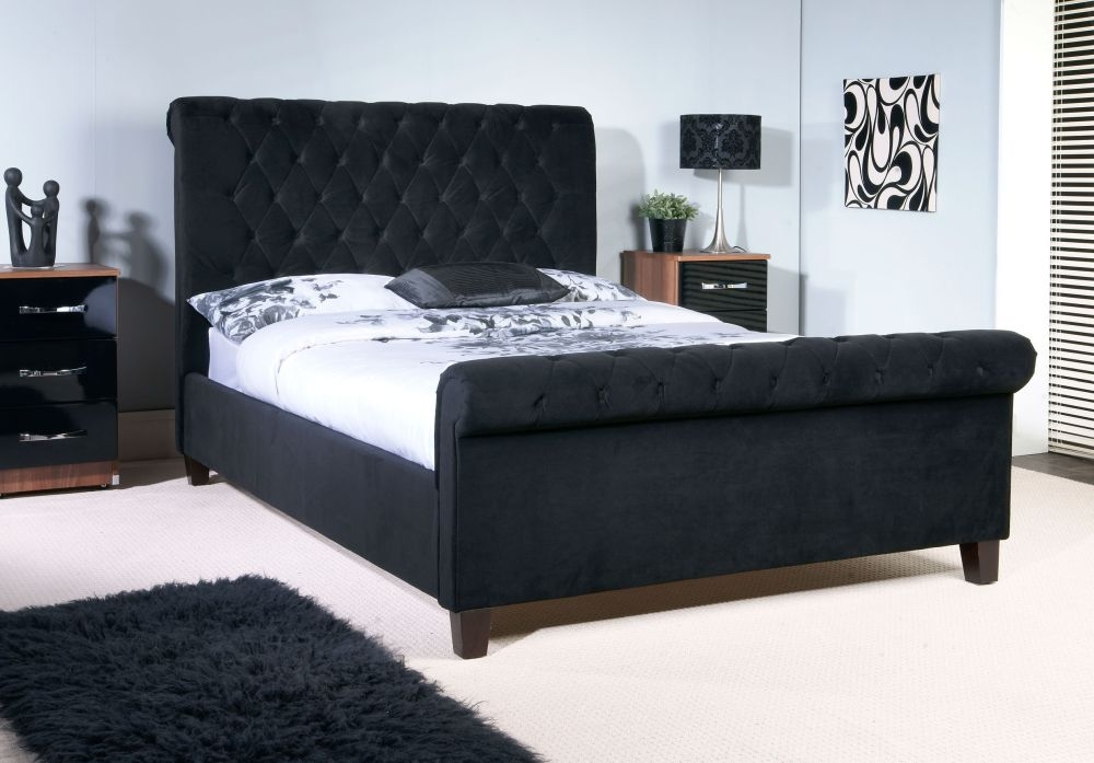 Limelight Orbit Black Velvet Bed