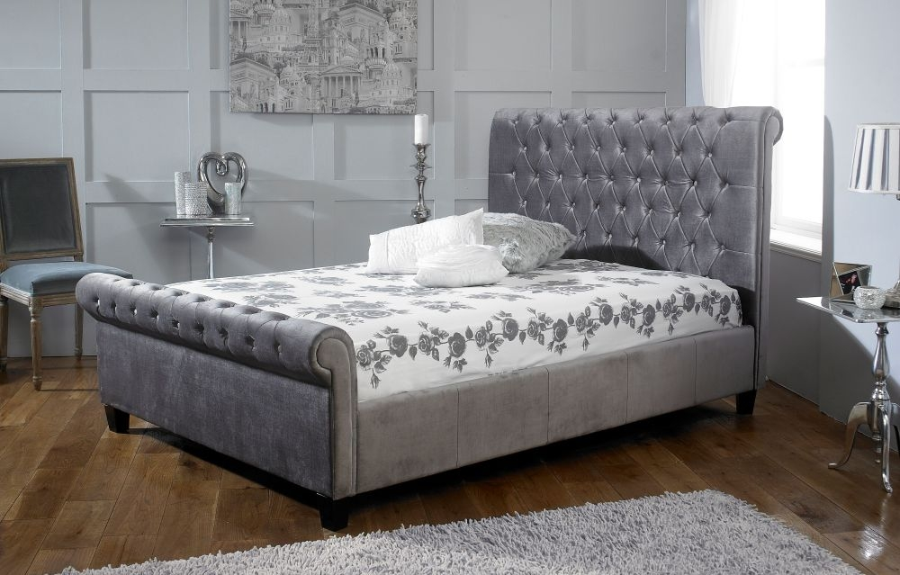 Limelight Orbit Plush Silver Velvet Fabric Bed