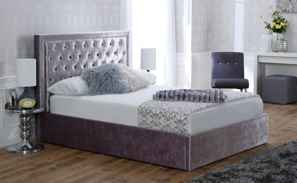 Limelight Rhea Crushed Ice Velvet Storage Bed