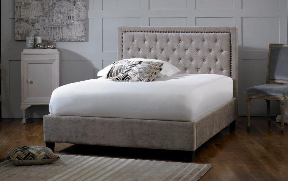 Limelight Rhea Mink Velvet Fabric Bed