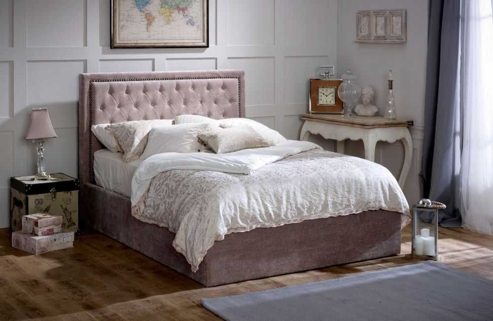 Limelight Rhea Mink Velvet Storage Bed
