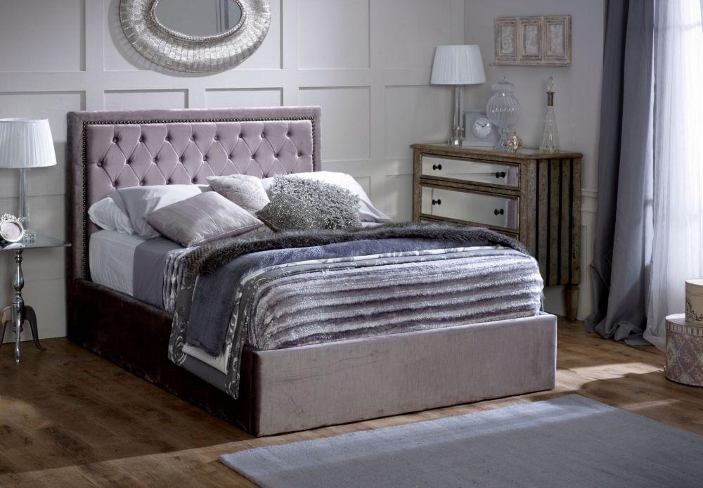 Limelight Rhea Plush Silver Velvet Storage Bed