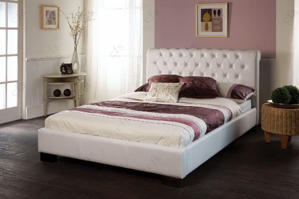 Limelight Aries White Faux Leather Bed