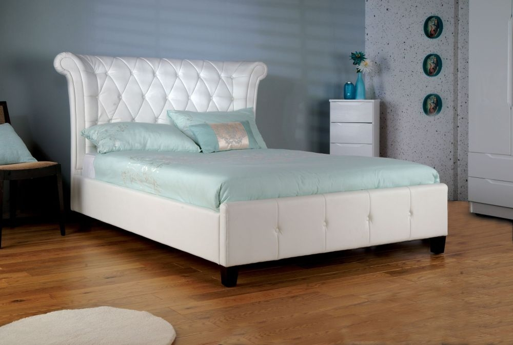 Limelight Epsilon White Faux Leather Bed