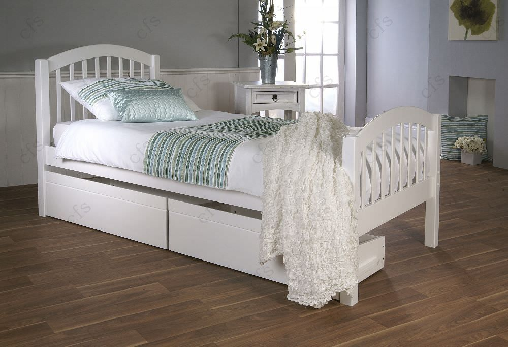 Limelight Despina White Bed - with 2 Drawers