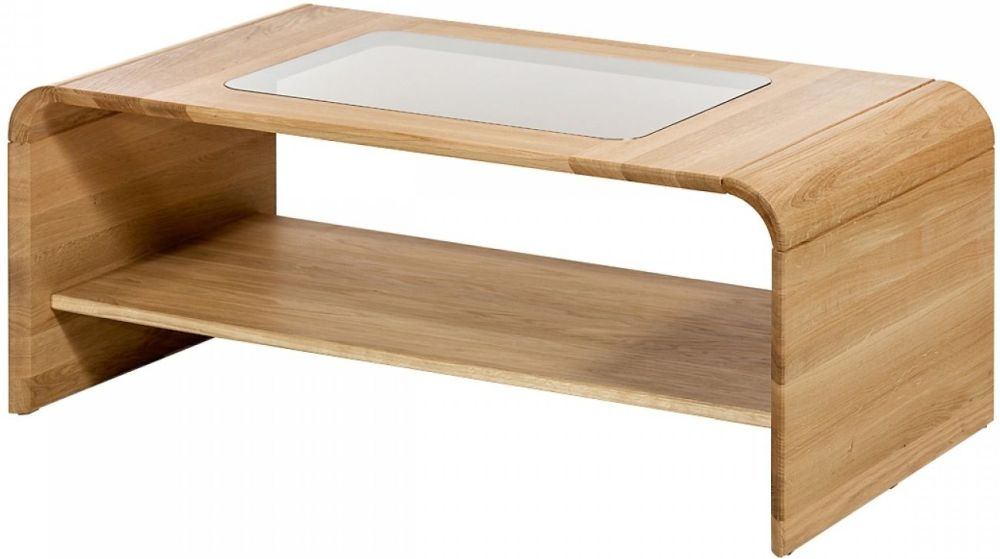 Korsor Curved Oak Coffee Table with Glass Insert
