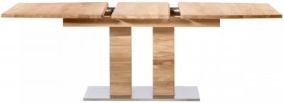 Hobro Oak 160cm Rectangular Extending Dining Table with Stainless Steel Base