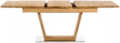 Mors Oak 160cm Rectangular Extending Dining Table with Stainless Steel Base