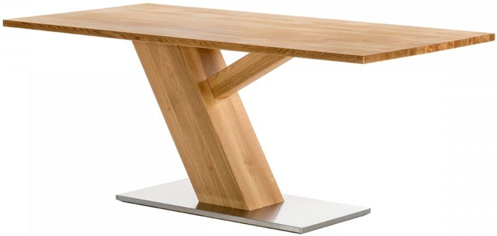 Lokken Oak 180cm Rectangular Dining Table with Stainless Steel Base