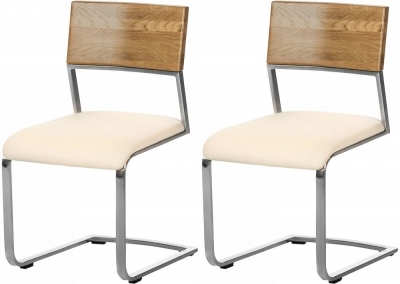Ribe Oak and Faux Leather Dining Chair (Pair)