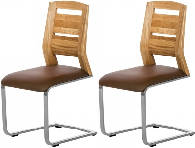 Grasten Oak and Faux Leather Dining Chair (Pair)