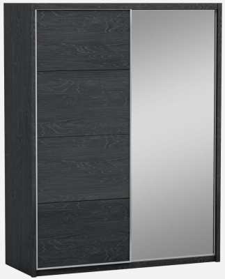 Ada Slate High Gloss 2 Door 1 Mirror Sliding Wardrobe