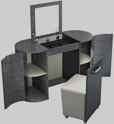 Ada Slate High Gloss 2 Door Vanity Unit with Stool