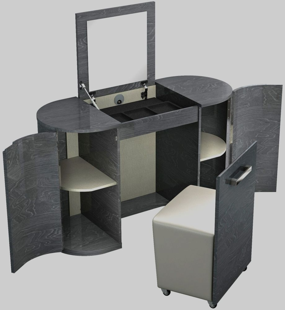 Ada Slate High Gloss 2 Door Vanity Unit with Stool