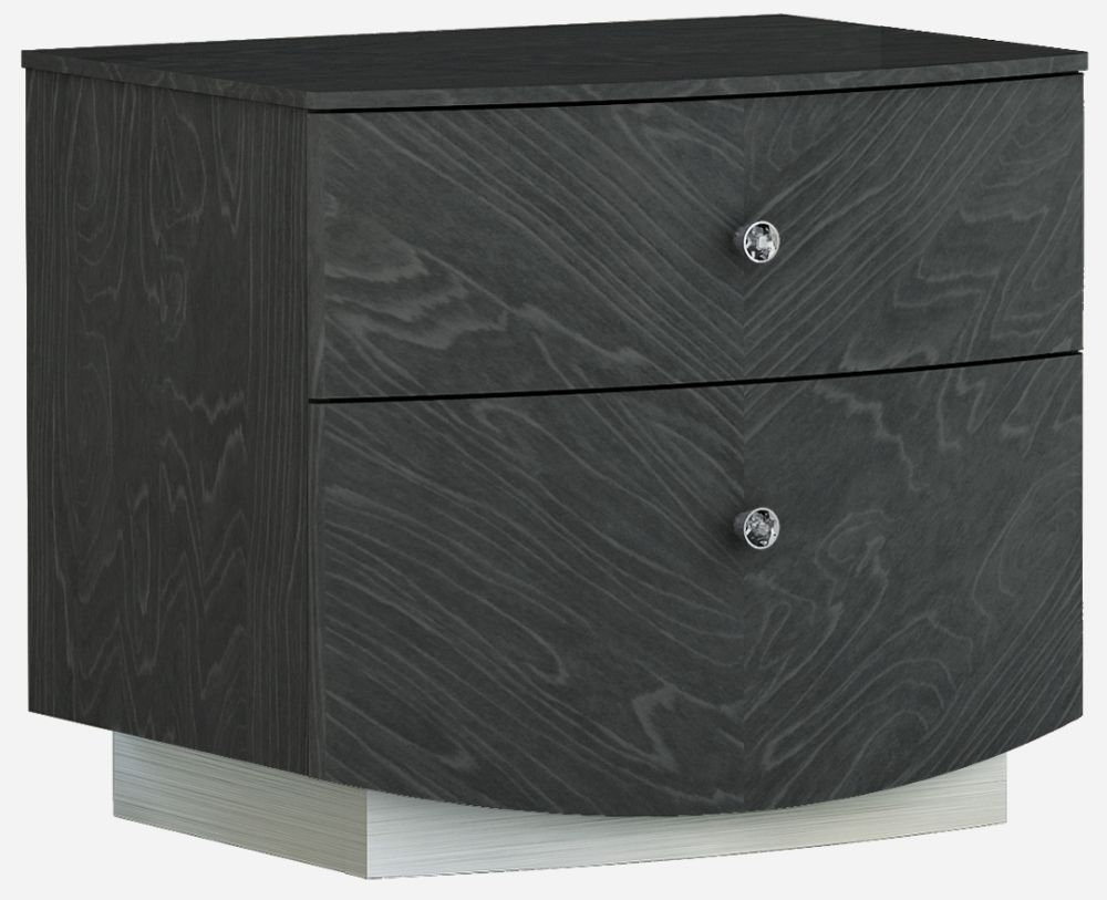 Ada Slate High Gloss 2 Drawer Bedside Cabinet