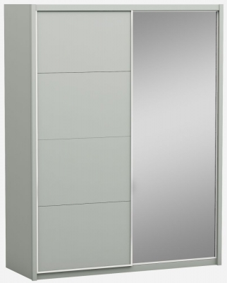 Affinity Cool Grey High Gloss 2 Door 1 Mirror Sliding Wardrobe