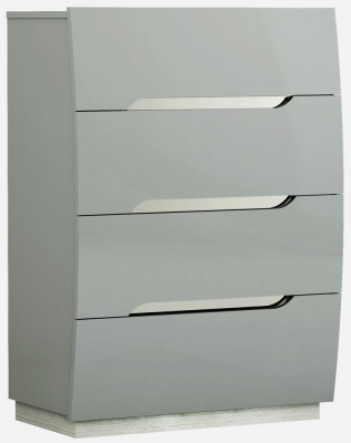 Affinity Cool Grey High Gloss 4 Drawer Tall Chest