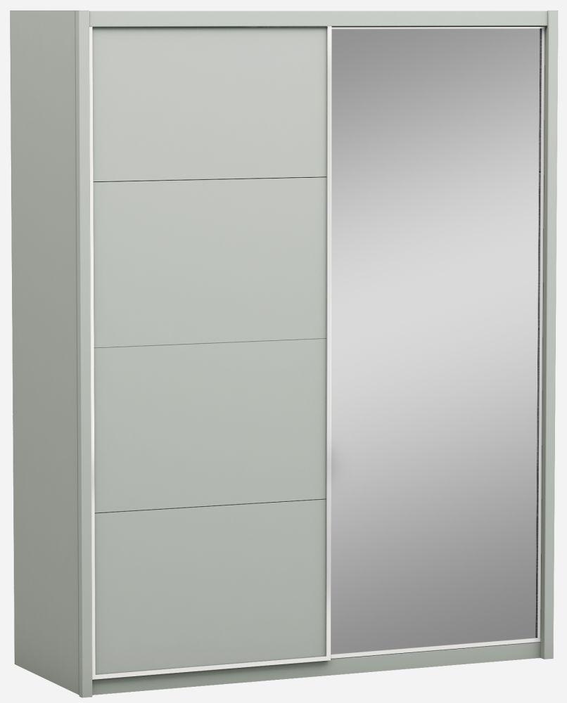 Affinity Cool Grey High Gloss 2 Door 1 Mirror Sliding Wardrobe