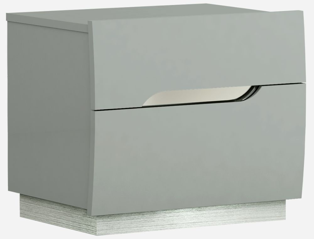 Affinity Cool Grey High Gloss 2 Drawer Bedside Cabinet thumbnail