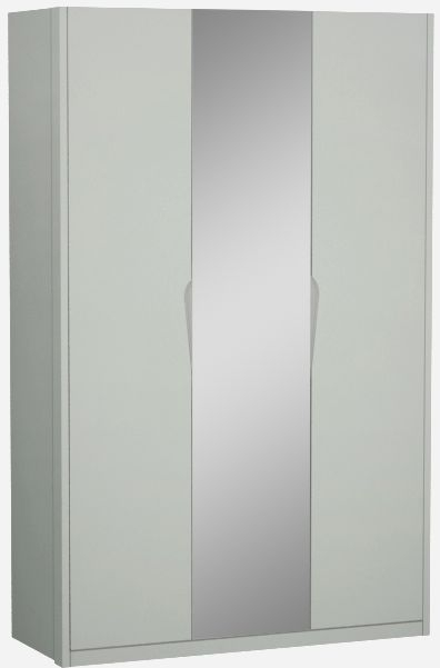 Affinity Cool Grey High Gloss 3 Door 1 Mirror Hinged Wardrobe