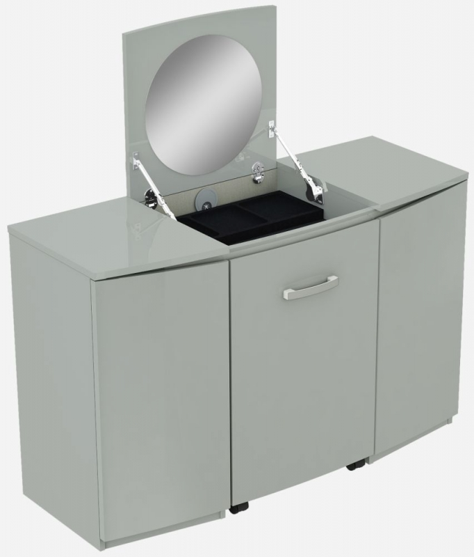 Affinity Cool Grey High Gloss 2 Door Vanity Unit with Stool