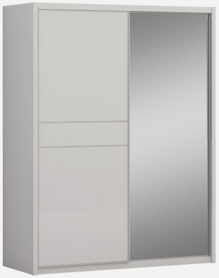 Eros Cashmere High Gloss 2 Door 1 Mirror Sliding Wardrobe