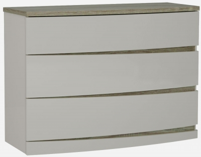 Eros Cashmere High Gloss with Havana Oak 3 Drawer Dresser