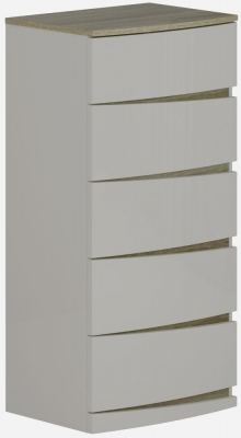 Eros Cashmere High Gloss with Havana Oak 5 Drawer Tall Chest
