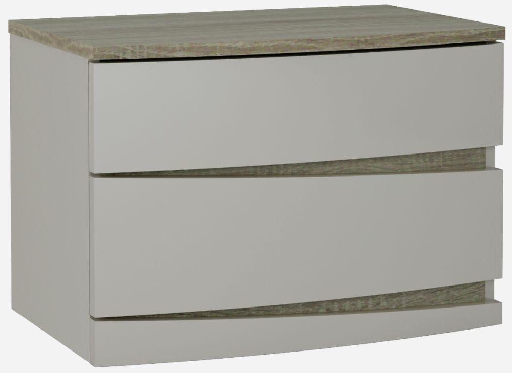 Eros Cashmere High Gloss with Havana Oak 2 Drawer Bedside Cabinet