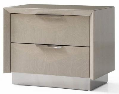 London Cream Walnut High Gloss Bedside Cabinet